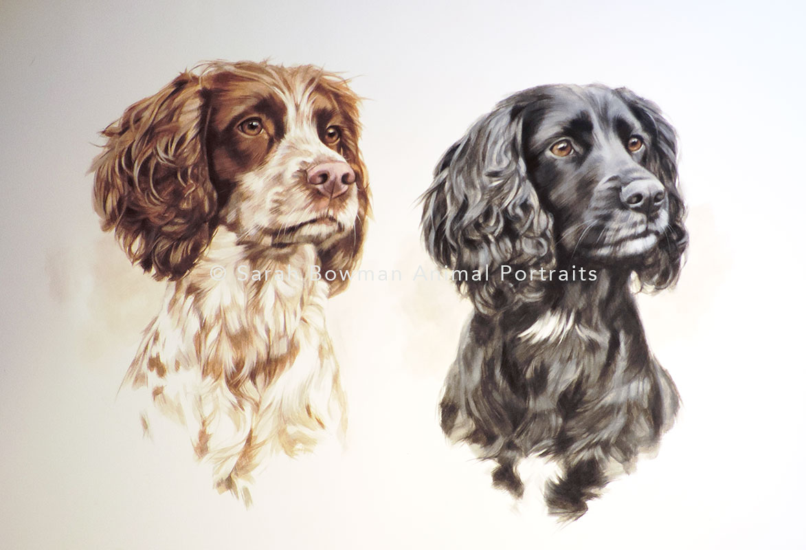portrait of 2 spaniels in acryllic
